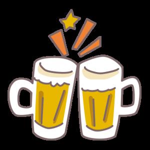 コテージで生ビールで乾杯