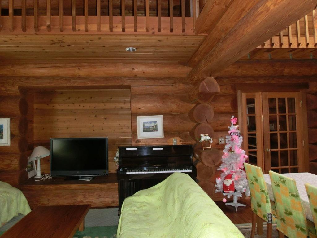 ルネス軽井沢のコテージリビングにクリスマスツリー