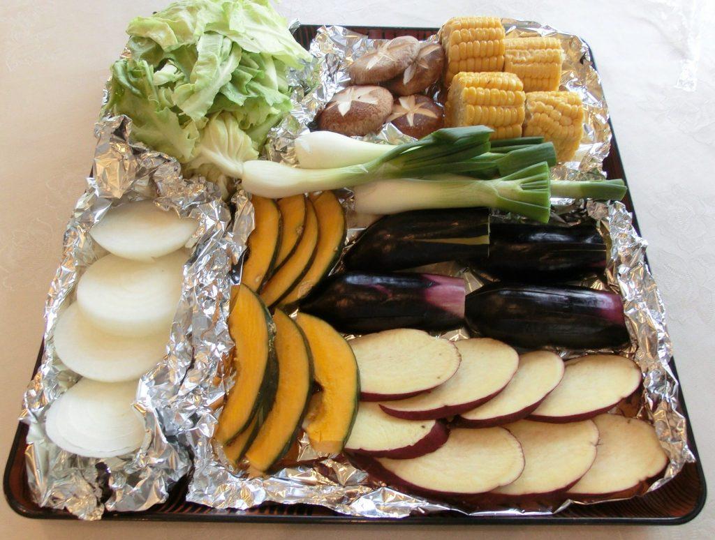 バーべキュースタンダード食材+道具一式レンタルの食材(高原野菜8名分)