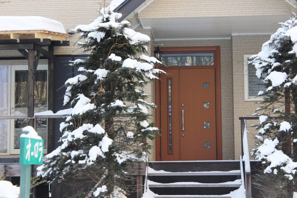 冬のオーロラの玄関