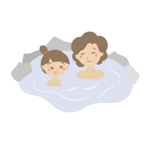 温泉に入る親子