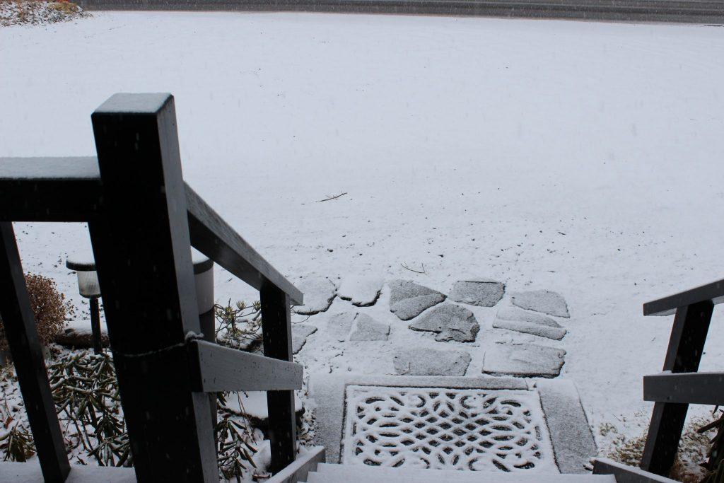 ルネス軽井沢フロント事務所前の雪