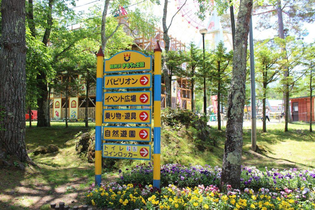 軽井沢おもちゃ王国の案内板