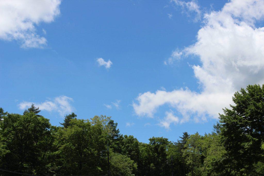 すがすがしい青い空の浅間牧場
