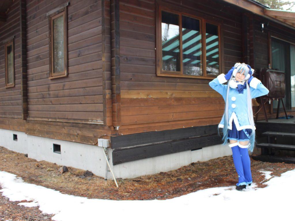 ルネス軽井沢のコテージで雪ミク